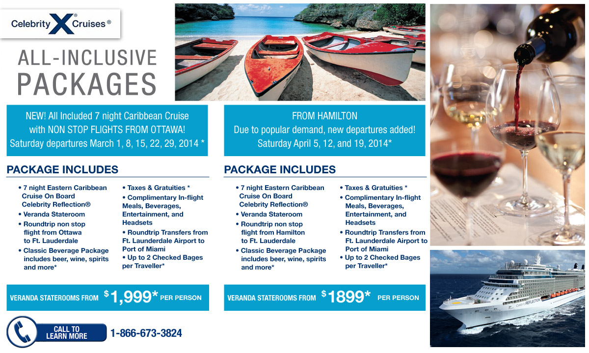 AllInclusive Packages From Ottawa And Hamilton  Celebrity Cruises  RedTagca