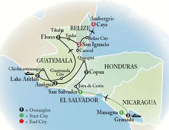 map of belize and guatemala