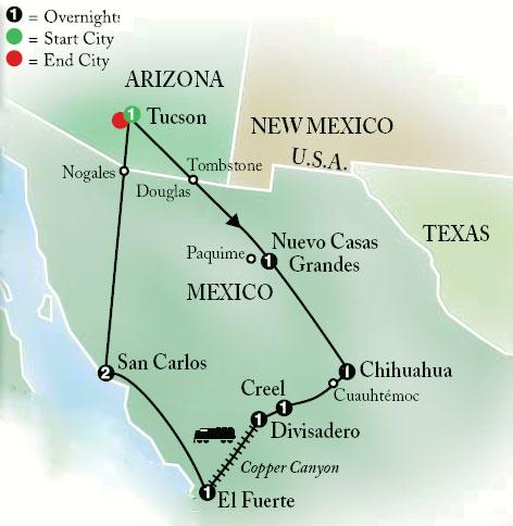 Cosmo Mexico Map.Mexico S Copper Canyon Tour Globus Cosmos Escorted Tours Red