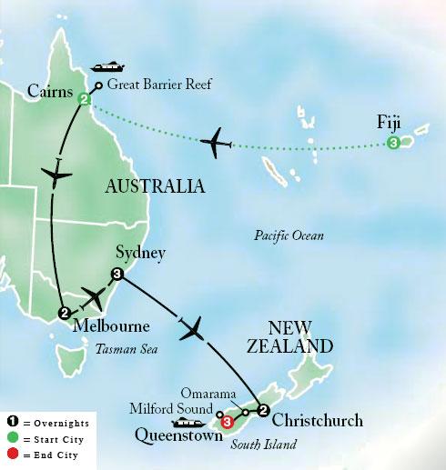 Australia South Pacific: Map Of Fiji And Australia