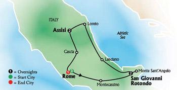 San Giovanni Rotondo Italy Map.Classic Shrines Of Italy Tour Rome San Giovanni Rotondo Italy