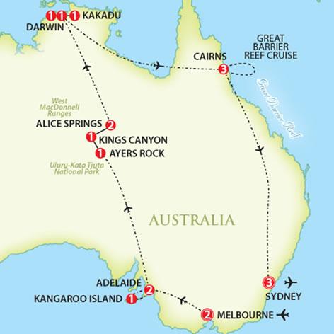Australia Tour Map.Best Of Australia Trafalgar Escorted Tours Red Tag Tours
