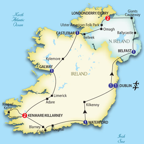 Irish experience trafalgar escorted tours red tag tours irish experience tour map gumiabroncs Image collections
