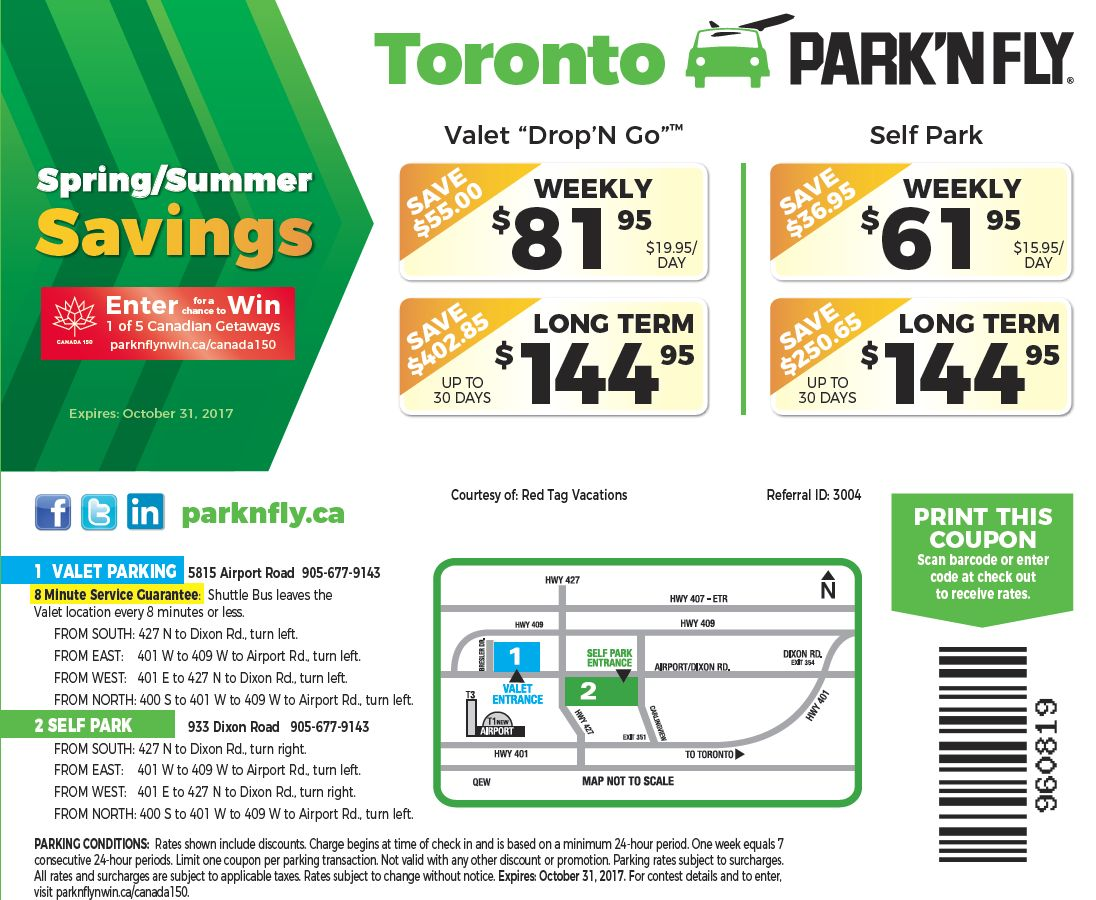 park n fly printable coupons toronto airport parking skypark 174 parking cheap airport 23899 | parknfly promotoronto may 2017
