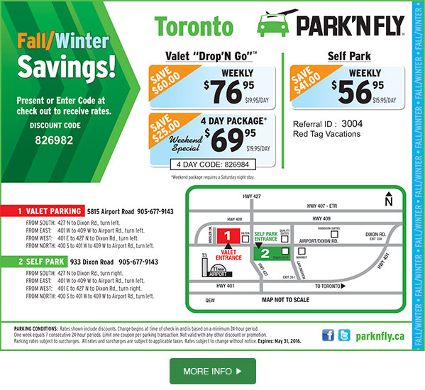 From coast to coast, Park N Fly offers Canadians savings on airport parking with parking off location and shuttle or valet parking. Enjoy savings up to $30 off weekly parking at the airport with a coupon code .
