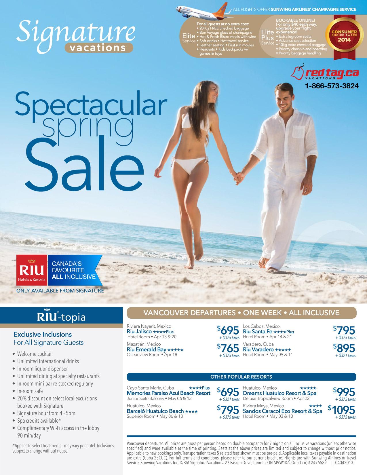 Signature Vacations Signature Last Minute Deals All Inclusive Travel Deals Redtag Ca